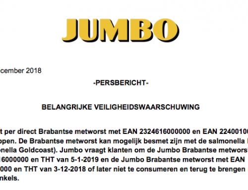 Belangrijke veiligheidswaarschuwing Jumbo Brabantse metworst